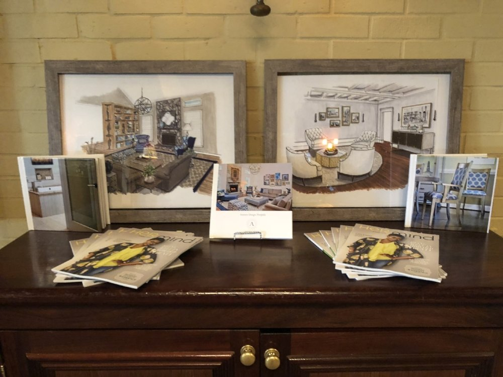 {Project illustrations, photo books and Her Mind magazines make the best party decor! Illustrations by  Jane Gianarelli .}