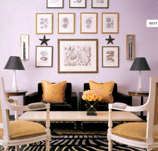 {I love the use of yellow and black with the pale lilac walls. From:  Anne Coyle Interiors .}