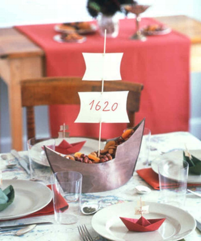 {Paper Mayflower kids table centerpiece. From:  Martha Stewart .}