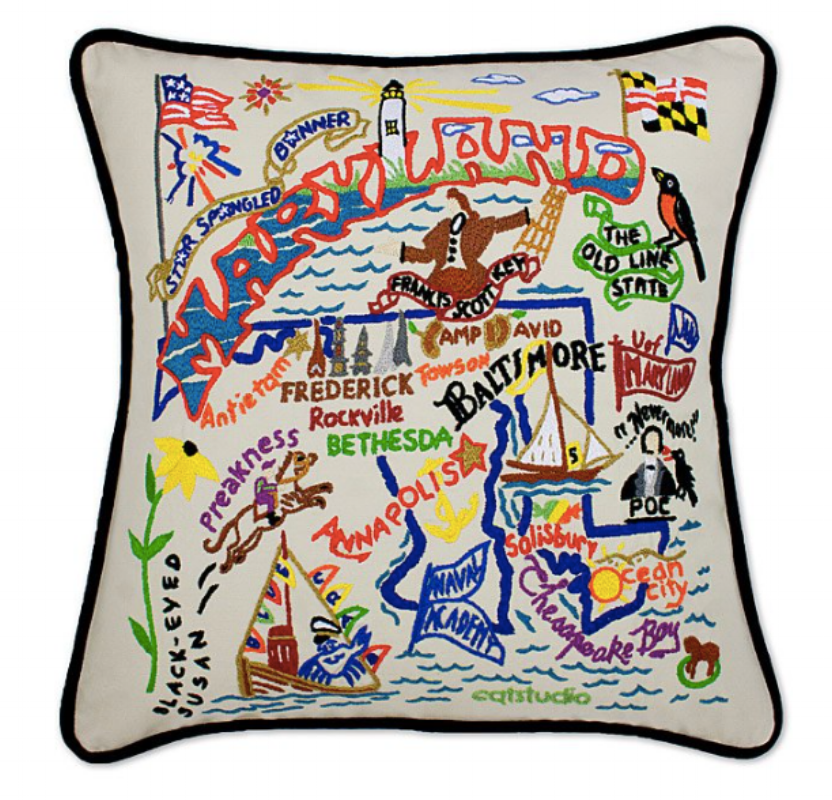 {Show your state pride and start a conversation with this embroidered state pillow. From  Uncommon Goods .}