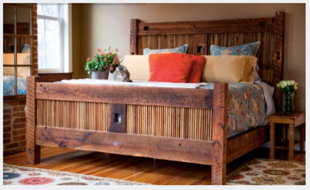 {Handmade Heather's Bed made locally from reclaimed wood in Baltimore! From:  sandtownmillworks.com }