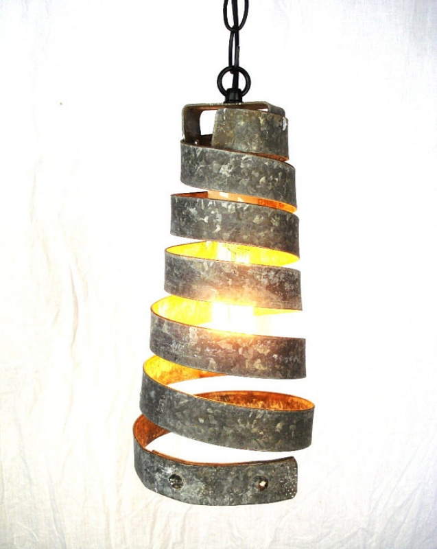 {Would you guess this fixture used to be a belt on a Napa Valley wine barrel belt? From:  Wine Country Craftsman .}