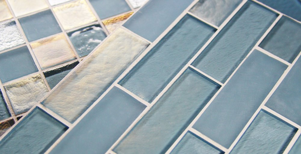 {Handcrafted, recycled glass tiles. Soothing shades of blue are the perfect inspiration for a serene, spa-like bathroom. From:  Stone Source. }