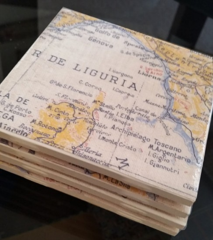 {Your travel maps on coasters. A great conversation piece. From:  Mathis Designs .}