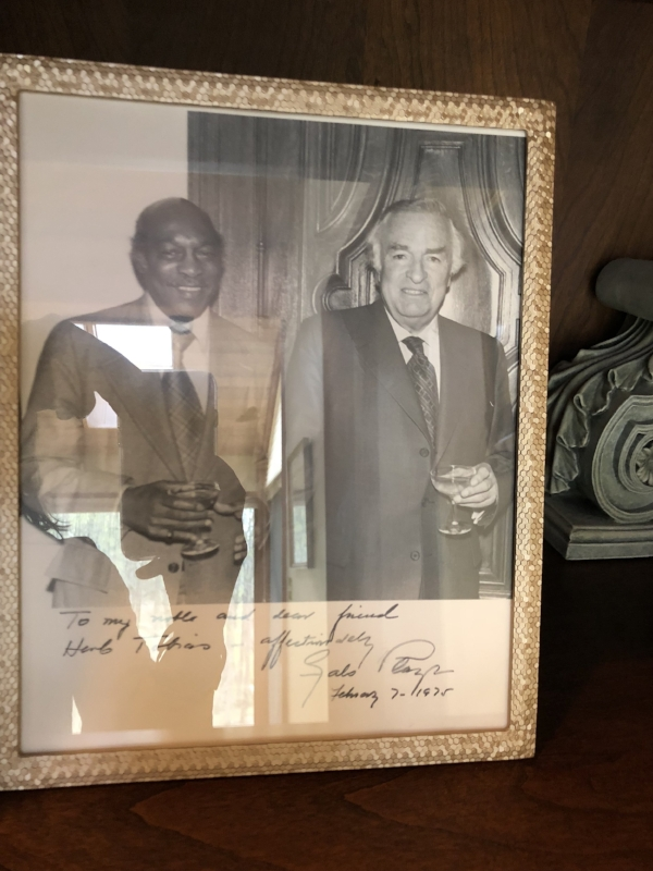 {A historic photo opp – Beverly's father alongside former Ecuadorian President, Galo Plaza, in 1975.}
