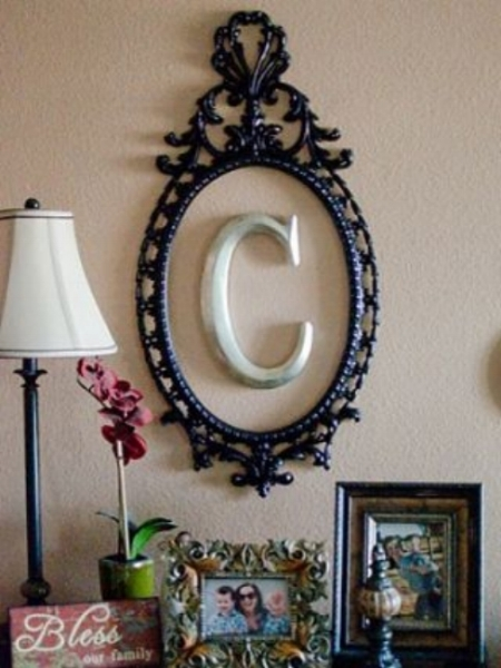 {Similar to my project,an up cycled frame makes for an easy and inexpensive DIY. From: Good Housekeeping .}