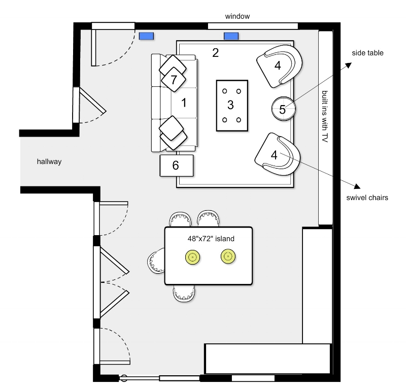 {Our space plan for the living room. Note, we didn't design the kitchen and it's shown here in blocks for general placement.}
