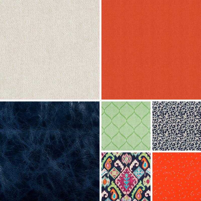 Colorful Living Family Room Design Pattern Print Fabrics