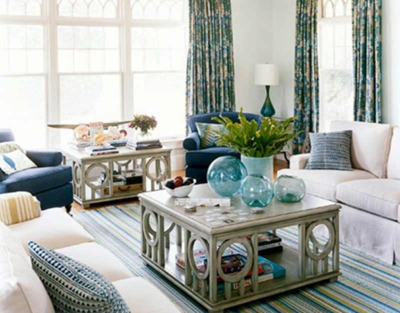 {Blue, green and cream! The warmth of the cream color allows everything else to stand out. Design by  Annie Selke .}