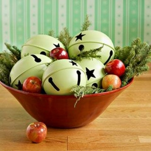 {Bells in bowl with greens, easy right? From: Better Home & Gardens .}