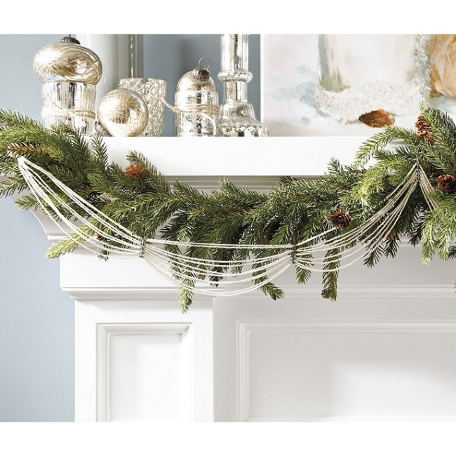 {Glass beads add a more sophisticated flair to holiday decor. From:  Ballard Designs .}