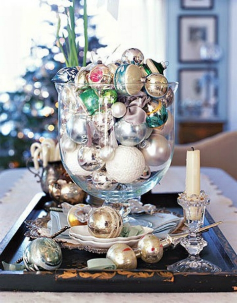 {For a striking display, vary the scale, color and texture of the ornaments you use in your glass container.From:  HGTV .}