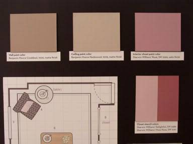 {Suggested paint colors: Walls - Benjamin Moore Creekbed #1006, Ceiling - BM Hazlewood #1005, Interior closet - Sherwin Williams' Rosé #6290, Closet stencil - SW Delightful # 6289 & Moss Rose #6291}