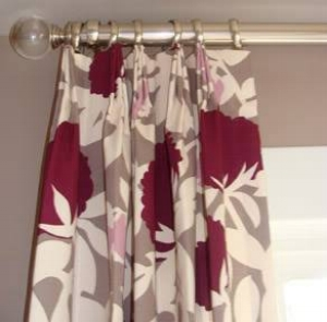 {My window treatments – featuring a gorgeous Thomas Paul for Duralee fabric –were installed last week!}
