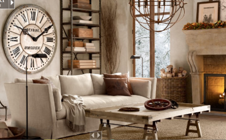 {A screenshot of Restoration Hardware's website, where calm and neutral colors rule.}