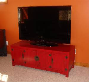 {Client's family room, color & tv cabinet are our starting point.}