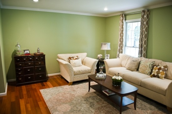 {Jensen living room after new design, before photo wall installation. Photo by  Mary Gardella .}