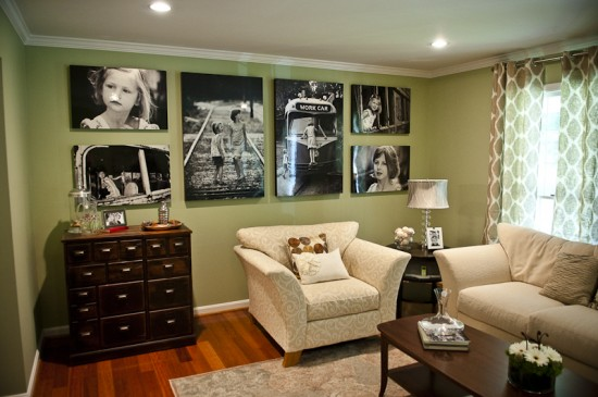 {TA DA - the wall design photos are in place and make a huge, lovely impact on the room. I could sit here for hours! Photo by  Mary Gardella . Flowers on coffee table by  Della Blooms .}