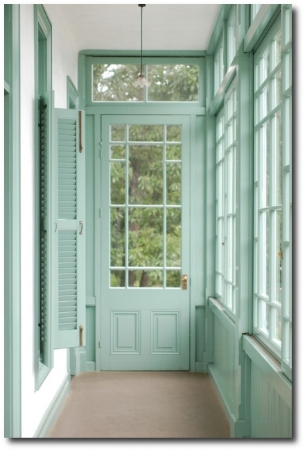 {Say bye-bye to boring trim paint and hello to aloe. For a home with character - farmhouses, victorians or cape cods - don't be afraid to explore the colorful possibilities! From: HerSite.}