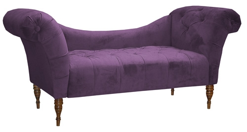 {Sloped-back tufted plum settee. From:  The Purple Store .}
