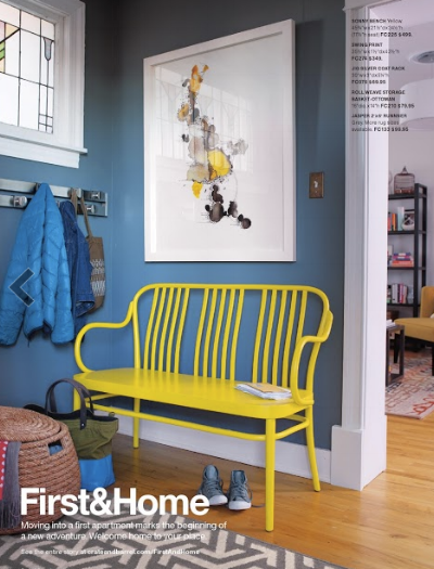 "{This yellow bench surrounded by blue walls is a cheery ""hello"" to say the least. From:  Crate & Barrel , }"
