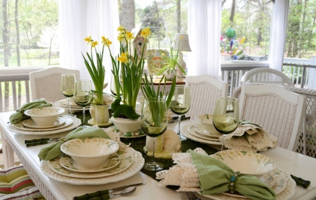 {I love the use of colored stemware to add to the overall feel of this table. From:  Between Naps on the Porch .}