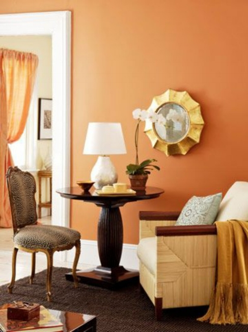 {Warm orange on your walls will create a glow in your home. From: Tistory .}