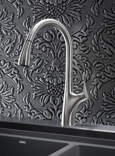 """{A streamlined faucet with green features is a """"win-win"""" for your kitchen. From:  Blanco By Design .}"""