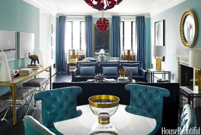 {Monochromatic rooms with gold and brass accents help bring that mid-century Mad Men style into your home. From:  House Beautiful .}
