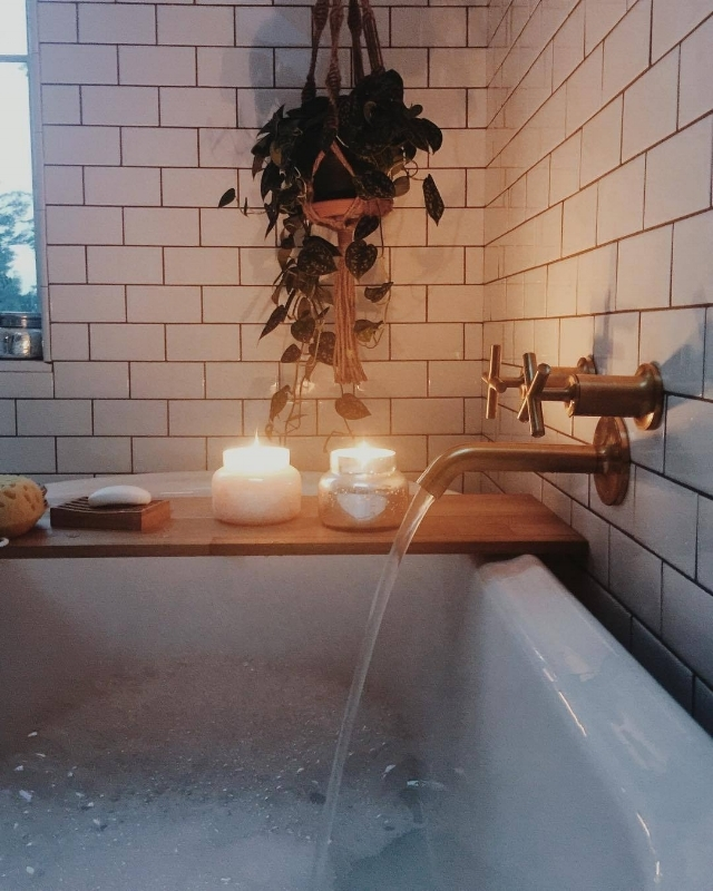 "{This soothing tub with caddy and candles may be your reality or a ""never going to happen"" fantasy! From:  Sara Parsons .}"
