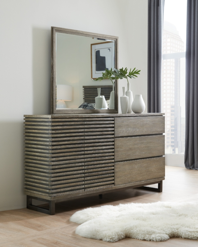 {Textured dresser from  Hooker Furniture . Look at the great louvered detail.}