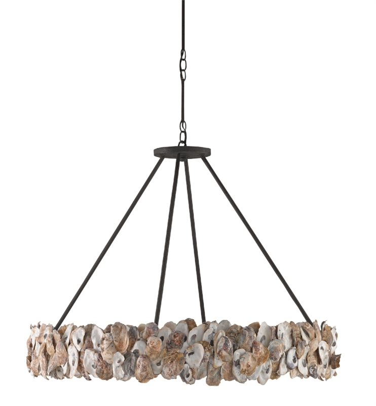 {Oyster shells adorn this bold oval chandelier. From  Currey & Company .}