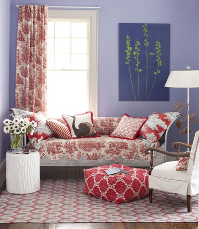{What a happy space. Lavender and red play well off of each other. From:  Country Living .}