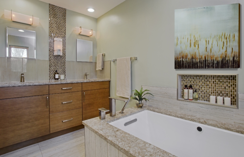 {Nature inspired master bathroom renovation. Design by  April Force Pardoe Interiors .}