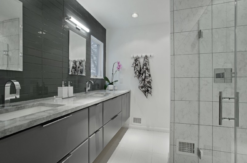 {Master bathroom renovation, after. Design by  April Force Pardoe Interiors .}