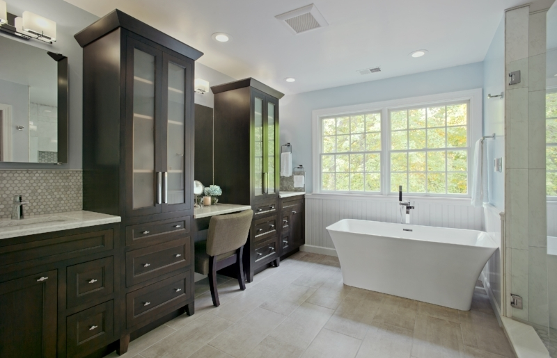 {Our clients wanted a more functional layout for their master bathroom with maximum storage. Design by  April Force Pardoe Interiors .}