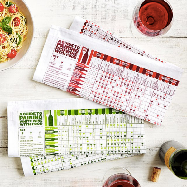 {These tea towels are festive, informative and useful! Present it wrapped around a bottle of wine. From:  Uncommon Goods. }