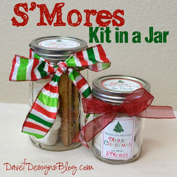 {Smores ingredients in a mason jar — brilliant! A hostess with a sweet tooth will love this charming gift. From:  Dave Designs .}