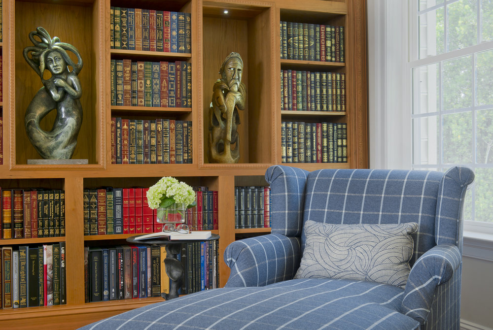 {Design a cozy spot to stretch out with your favorite book.  Bluebell Way  design by April Force Pardoe Interiors.}