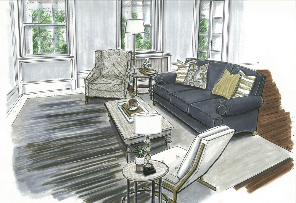 {A warm, welcoming and cozy TV Area. Rendering by  Jane Gianarelli .}