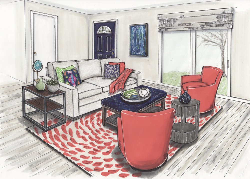 {A rendering of our design, drawn by  Jane Gianarelli  presented to clients at design meeting.}