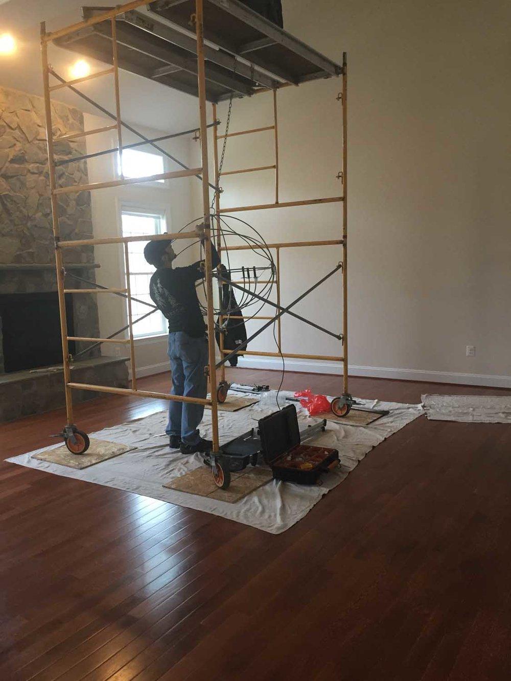 Laurel Maryland Great Room Two Story Family Room Chandelier Install 1 – Designer Bestie April Force Pardoe Interiors.jpg