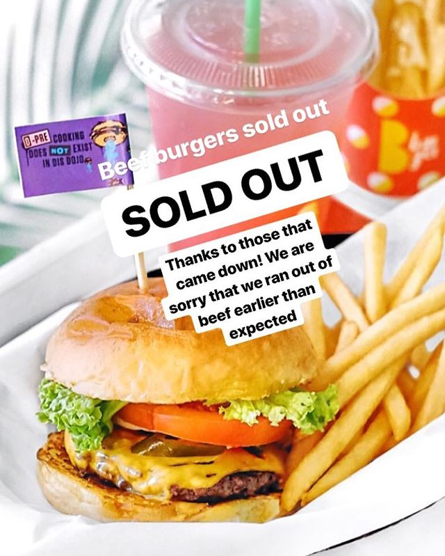 Thanks to all our supporters who came down! 👊 We ran out of beef earlier than expected. Chicken and Fish burgers still available. Tomorrow, we will be re-stocked with fresh new beef. See you guys tomorrow!
