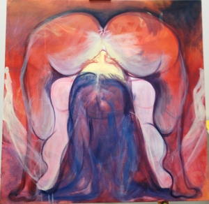 Jessica Ballantyne, carrion flower, stinky flower, feminist art, feminist painting, erotic, surreal, feminine art, blue hair, yoga, dark art, different art, original oil painting, contemporary artist, uk artists