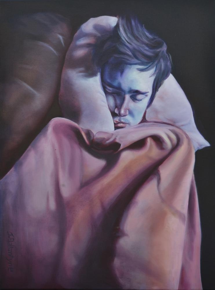 Jessica Ballantyne, Jessica Ballantyne artist,, blue art, blue self portrait, surreal art, surreal oil painting, surreal colours, sleeping man, man asleep painting, dreams, dream like,melancholy painting, strange art, dark art