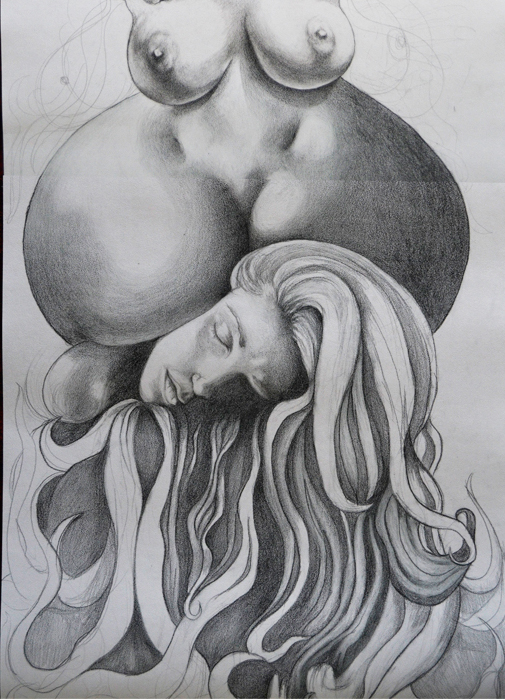 Drawing, shading, drawing and shading, large scale drawing, surreal drawing, surreal art, Jessica Ballantyne, melting bodies, drawn boobs, drawn breasts, bodies intertwined, morphing bodies, female body art, totem pole, human totem pole, fleshy totem pole, large scale art, big scale drawing, long pencil drawing, pencil body, pencil feet, pencil bum, fleshy body growing upwards,