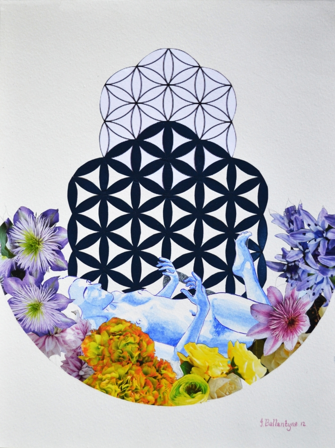flower of life, sacred geometry, sacred geometry art, seed of life, kaballa, collage, flower art, flower collage, death and beauty, nude, dead nude, circle of life, Jessica Ballantyne, uk artist, south african artist, circular art