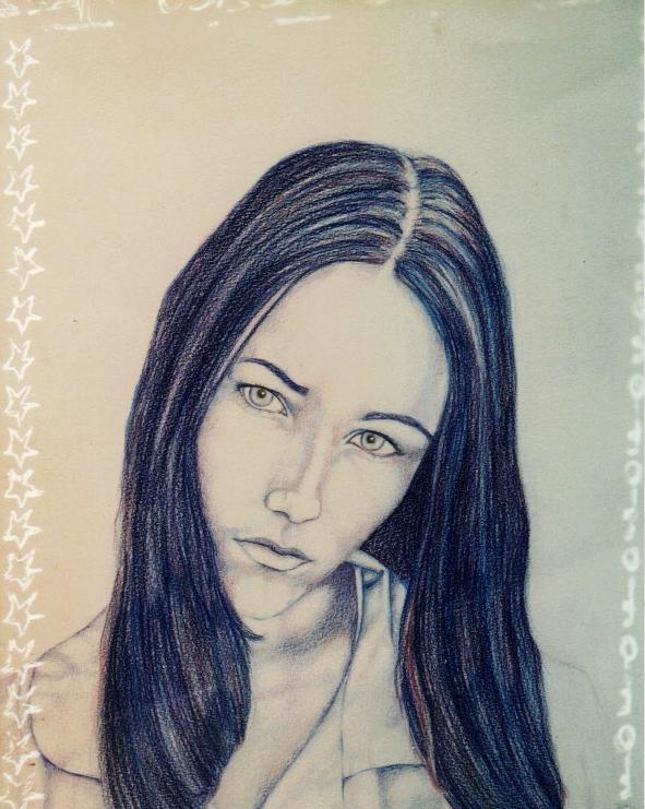 Artist self portrait, self portrait, Jessica Ballantyne, Jessica Ballantyne artist, pencil portrait, colour pencil portrait, blue pencil portrait, blue art, blue self portrait, school girl portrait