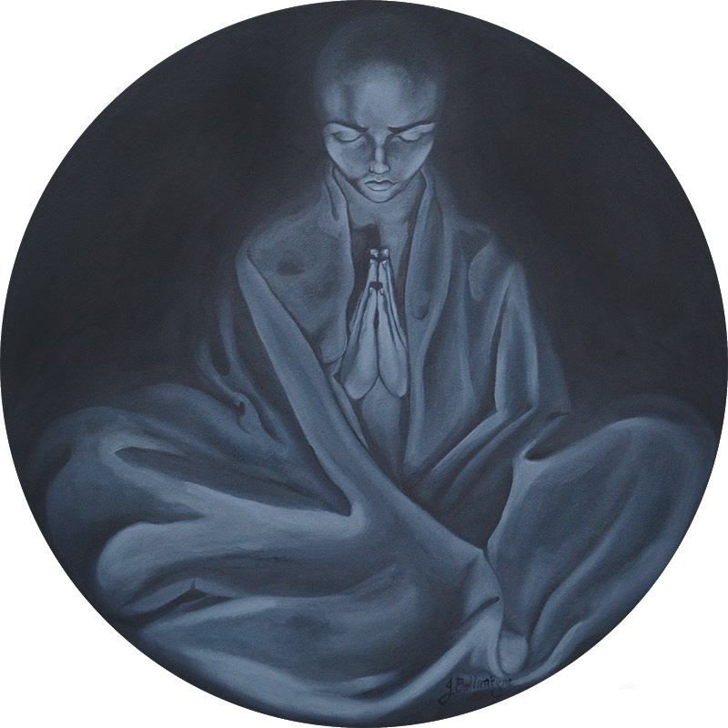 monk; circular; painting; round; round_painting; buddhist monk; buddhist; spiritual; monotone; oil_painting; oil; grey painting; unique art; art; mooji; restless_thoughts; restless monk; feet; Jessica Ballantyne, meditation, prayer, praying monk, praying buddhist