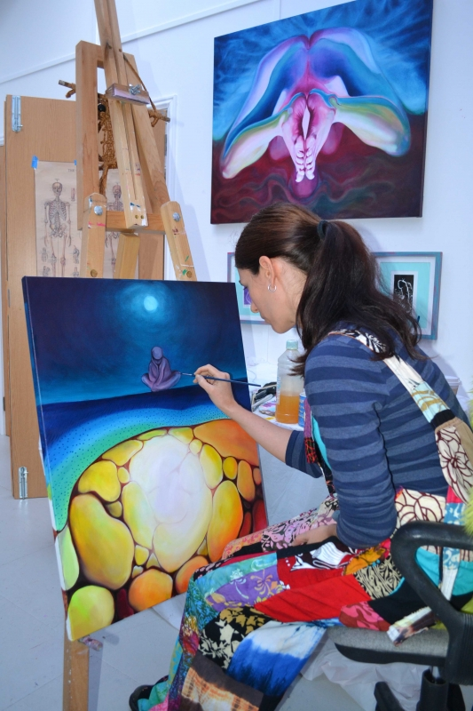 artists studio, jessica ballantyne artist, panarama of artist studio